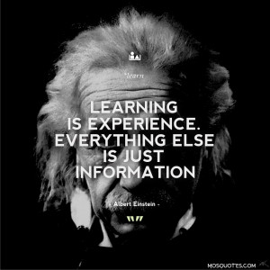 Albert Einstein Quotes Learning is experience. Everything else is just ...