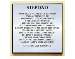 Personalised Square Wooden Plaque. Stepdad Poem Gift. Complete with ...