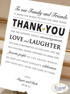 Wedding Thank You Cards - Wedding Thank You Signs, Printable reception ...