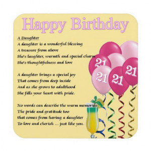 home images 21st birthday daughter poem coaster 21st birthday daughter ...