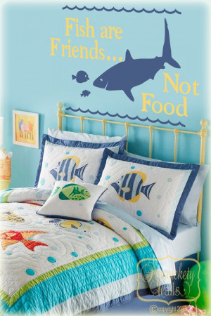 Fish are Friends, Not Food-quote with Shark and Fish silhouettes vinyl ...