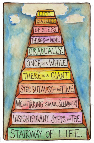 Motivational Wallpaper on Stairway of life: Life is a series of steps.