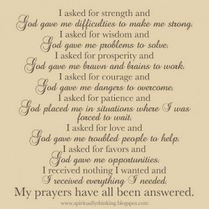 ... this evening are prayers for strength of faith during difficult times
