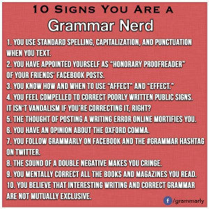 Funny Grammar Quotes 10 signs you are a grammar