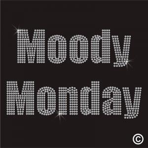 Iron on Funny Weekday MOODY MONDAY Rhinestone Diamante Motif Transfer ...