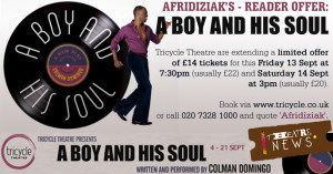 ... to see A Boy and His Soul at the Tricycle Theatre quote AFRIDIZIAK
