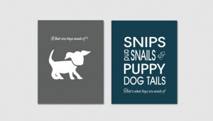 Childrens Kids Boys Prints // Puppy Dog Tails Quote // Wall Art Decor ...