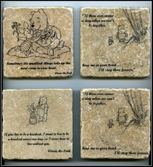 the Pooh Quote Wall Art Tumbled Tile Coaster Natural Stone Piglet ...