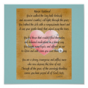 Retired Nurse Poem Art Poster -by gailg,RN