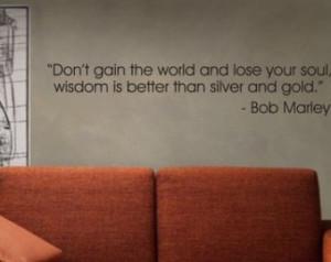 world Bob Marley QUOTE Decal Sticker Wall wisdom silver gold reggae ...