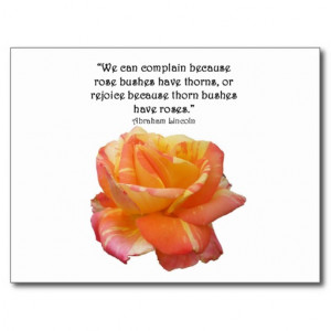 red_yellow_variegated_rose_and_thorn_quote_postcard ...