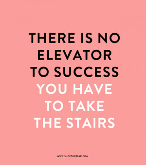 quote - there is no elevator to success, you have to take the stairs ...