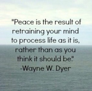 Peace is the result of retraining your mind to process life as it is ...