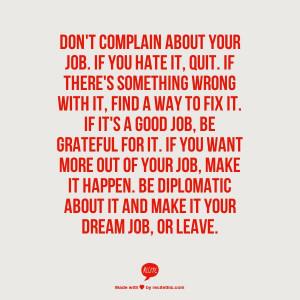 Don Plain About Your Job...