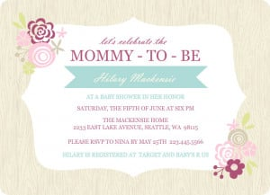 Cute Baby Shower Quotes For A Girl Pink floral frame girls baby