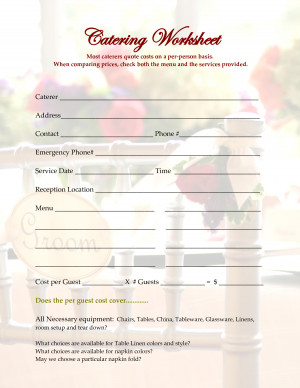 Catering Worksheet Most caterers quote costs on a per person basis ...