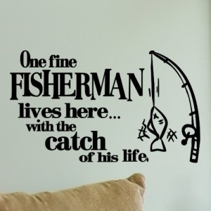 Fishing Wall Quote Decal I'm Sitting Here Wishing I Was Out Fishing