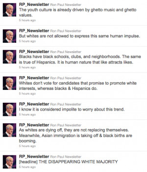 ... 500 Twitter account of the day: quotes from Ron Paul's racist ass