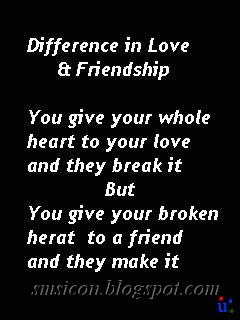 friendship and relationship difference sms text