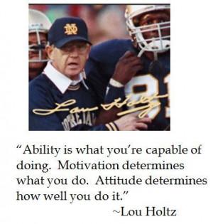 Lou Holtz's mini locker room pep talk on ability, motivation and ...