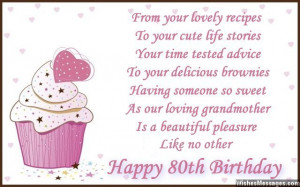 Cute 80th birthday wish for grandmother