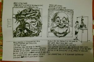 ... Handmade painting/sketc hes- Christian and Buddhism religious quotes