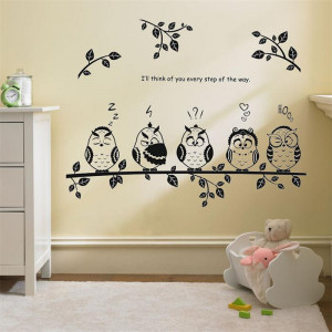 Cute family owls on the branch Cartoon wall decoration for kids room i ...