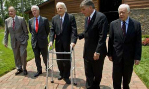 Rev. Billy Graham with three former Presidents