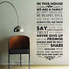 House Rules In This House Family Love Wall Quote Family Inspirational ...