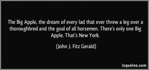 The Big Apple, the dream of every lad that ever threw a leg over a ...