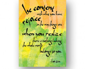 Contentment Art Quote by Lao Tzu - Printable Digital Instant Download ...
