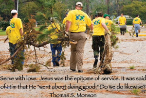 Serve with love. Jesus was the epitome of service. It was said of Him ...