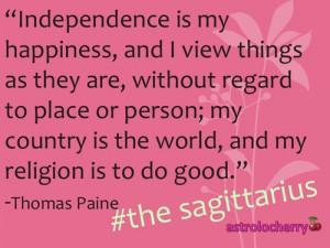 star sign quotes sagittarius thomas paine