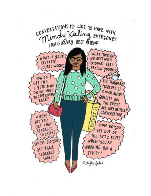 Mindy Kaling 5x7 Print HandIllustrated by roaringsoftly on Etsy, $10 ...