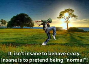 It isn't insane to behave crazy. Insane is to pretend being