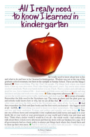 ... an early essay: All I really need to know I learned in kindergarten