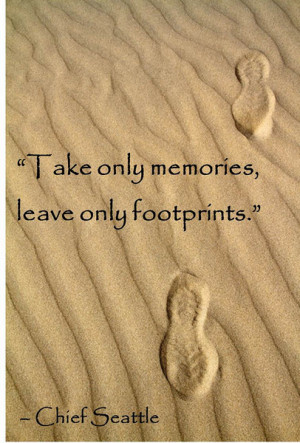 Travel quote take only memories leave only footprints