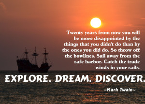 Boat at sunset with mark twain quote