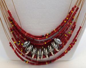 Flirty Beaded Necklace - Red Orange