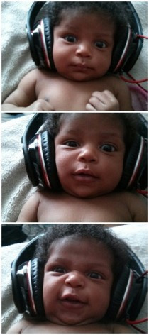 My daughters first time listening to music