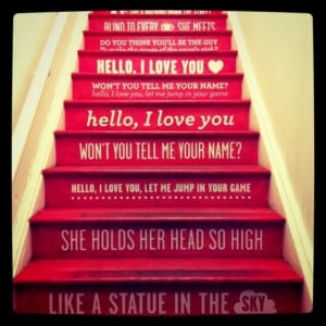 Song lyric stairs! I'm thinking Rhiannon by Fleetwood Mac!