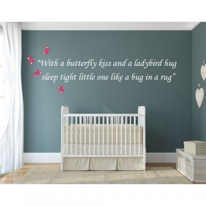 Butterfly Kiss Nursery Wall Sticker Quote