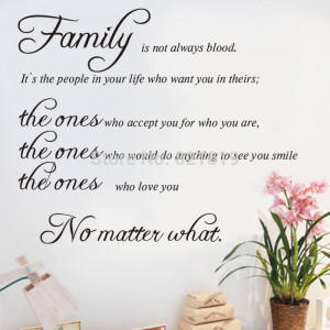 Family Is Not Always Blood Wall Decals Quotes Sayings Wall Stickers ...