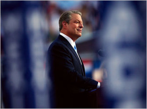 Al Gore addressing the Democratic National Convention