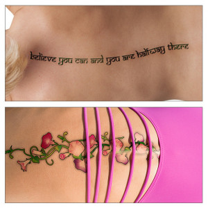Collage of a vine design and a quote tattoo on spine