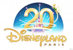 Tinker Bell presents the Disneyland Paris 20th Anniversary logos, with ...