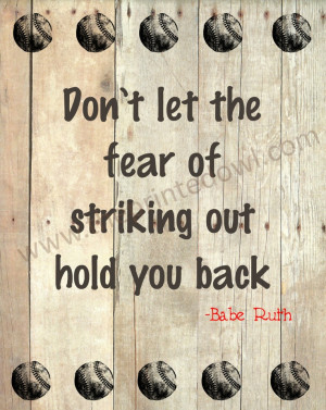 Baseball quote print/ Babe Ruth baseball quote by ThePrintedOwl, $10 ...