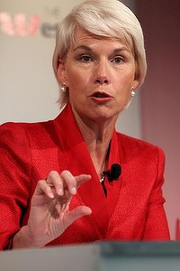 Gail Kelly chief executive officer (CEO) of Westpac group giving a ...
