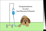 Last Round of Chemo Greeting Card-Sad Dog with IV-Encouragement card ...
