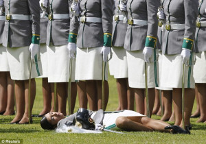 ... collapsing during a promotion ceremony at a police school in Bogota